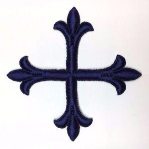Vintage-Frances-Cruz-Fleury-Bordado-4-034-para-Coser-Azul-Marino-Emblema-Patch-2PC
