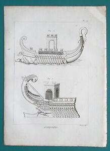 ROMAN-NAVY-Battle-Ships-Bireme-1804-Antique-Copperplate-Print
