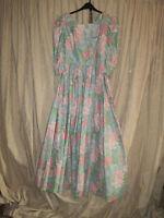 Vintage Laura Ashley Cotton Dress Size 12 with belt in Pastel colours