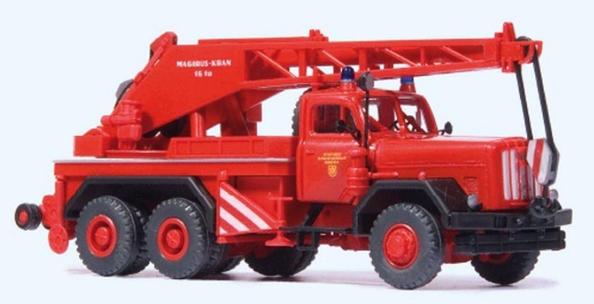 Preiser H0 35033 Magirus 250 D 25 Mobile Crane KW 16   Fire Brigade Munich