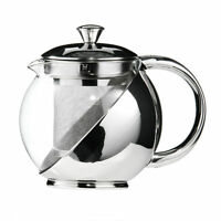 Modern 500ml Bright Stainless Steel & Glass Loose Tea Leaf Infuser Teapot Pot