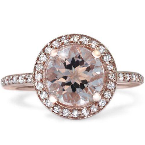 2ct Morganite & Diamond Halo Vintage Antique Engagement Ring 14K Rose Gold