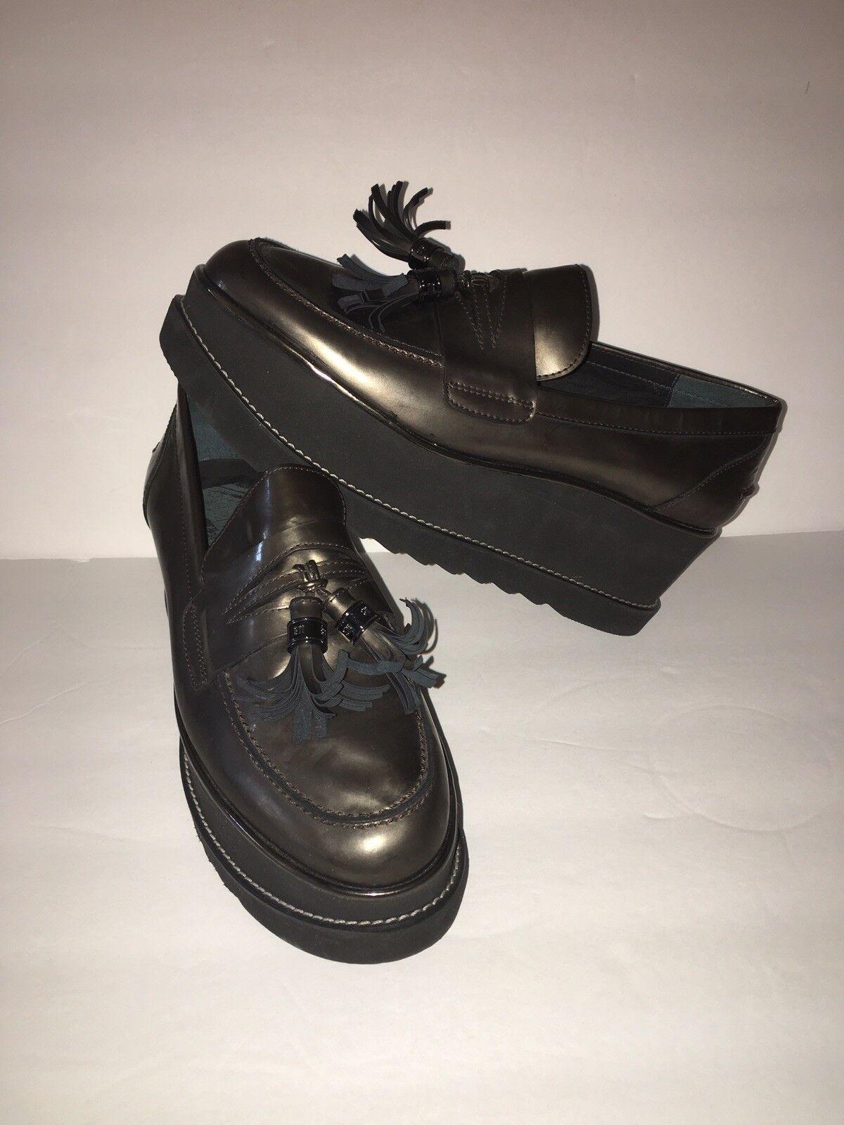 Stuart Weitzman damen Designer schuhe Metallic Tassel Loafer Wedge Größe 9.5 M