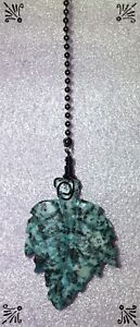 Handcrafted-Kiwi-Jasper-Gemstone-Leaf-Blue-Granite-Oil-Bronze-Fan-Pull