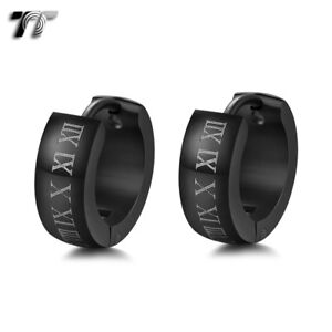 Quality-TT-5mm-Matt-S-Steel-Black-Roma-Number-Thick-Hoop-Earrings-EH142-5-NEW