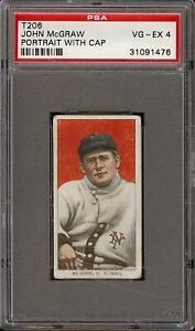 Rare 1909-11 T206 HOF John McGraw Portrait W/Cap Piedmont New York PSA 4 VG - EX