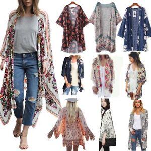 Women-Floral-Print-Chiffon-Loose-Shawl-Kimono-Cardigan-Top-Cover-up-Shirt-Blouse