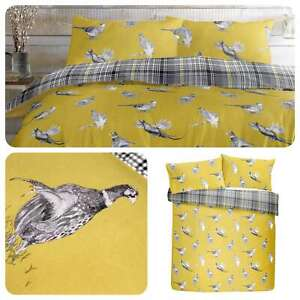 Fusion-PICKERING-Pheasant-Print-amp-Checked-100-Brushed-Cotton-Duvet-Cover-Set