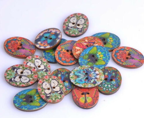 """Lot of 10 BUTTERFLY 2-hole Wood Buttons 1-1//8/"""" x 7//8/"""" Crafts 29 x 22mm 0267"""