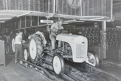 "8N Ford Tractor drive off Assembly Line 12X18"" Black & White Picture 2 pictures"