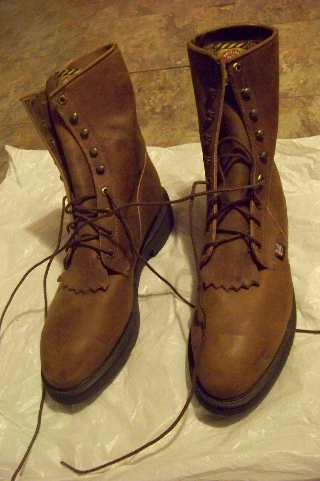 Para hombres Cuero Marrón Junstin Borla botas De Trabajo  2