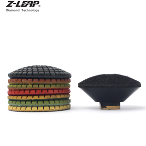 """7PCS Diamond Polishing Pads 3/"""" Convex Surface with 1PC Rubber Backer Curved Tool"""