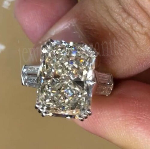 Radiant Moissanite Ring 3.49 Ct Off White Engagement Wedding 925 Sterling Silver