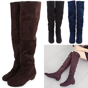 Woman-Fashion-New-Flat-Low-Heel-Over-The-Knee-Thigh-High-Stretch-Suede-Boots