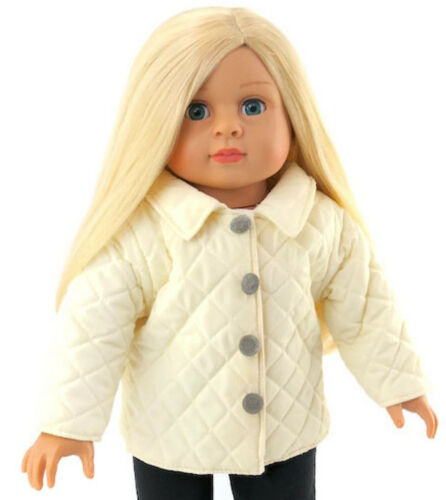 """Cream Quilted Jacket Coat with Silver Buttons for 18/"""" American Girl Doll Clothes"""