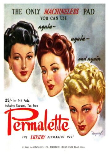 Wall art Permalette : Vintage Hair Dressing advertising Reproduction. poster