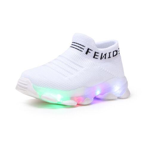 Toddler Kids Boys Girls Light Up LED Flashing Trainers Running Sneakers Shoe UK