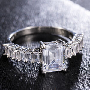 UK-Women-925-Silver-Wedding-Rings-Square-Cut-White-Sapphire-Jewelry-Size-6-10