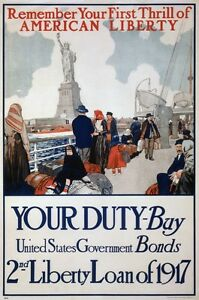 6994-People-on-boat-before-statue-of-liberty-US-Bonds-POSTER-art-wall-decor