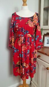 JOULES-UK-Size-10-Red-Floral-Jersey-Dress-3-4-Sleeves-amp-Pockets-N-LEILA