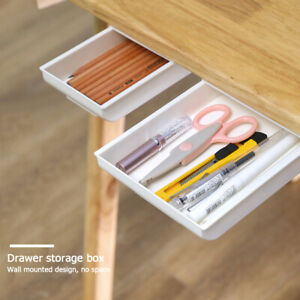 Self-adhesive-Drawer-Storage-Box-ABS-Under-Desk-Stationery-Organizer-Tray