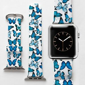 Blue Butterflies Genuine Leather Strap For Apple Watch Series 3 4 38mm 42mm Band Ebay