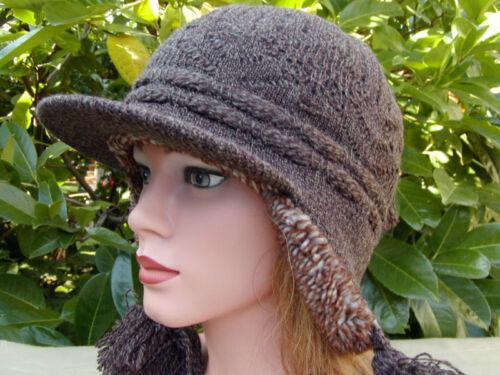 Damen Mütze Strickmütze Norweger Stil Braun Wintermütze warm Wolle Schirmmütze