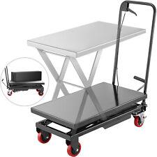 Hydraulic Scissor Cart Lift Table Cart 500lbs Manual Scissor Lift Table In Black