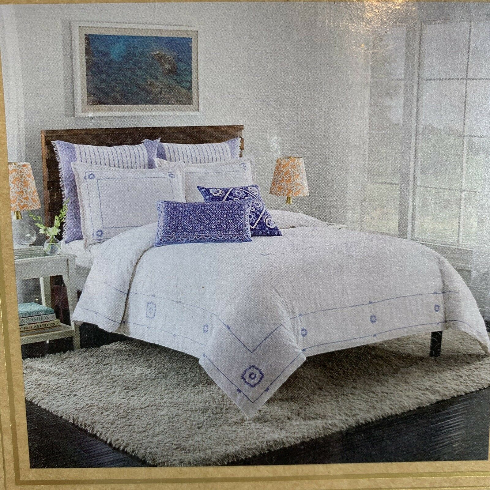 Cupcakes and Cashmere Full Queen bluee Frame Duvet Cover Embroidered on White NEW