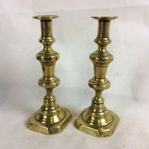 A-Pair-c19th-Antique-Solid-Brass-Ejector-Candlesticks