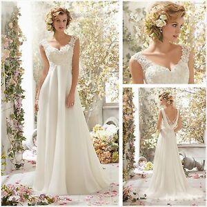 2018 New White/Ivory Chiffon Wedding Dress Bridal Gown Size 6-18 UK ...