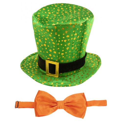 St Patrick/'s Day Novelty Fancy Dress Leprechaun Shamrock Pattern Hat /& Bow Tie