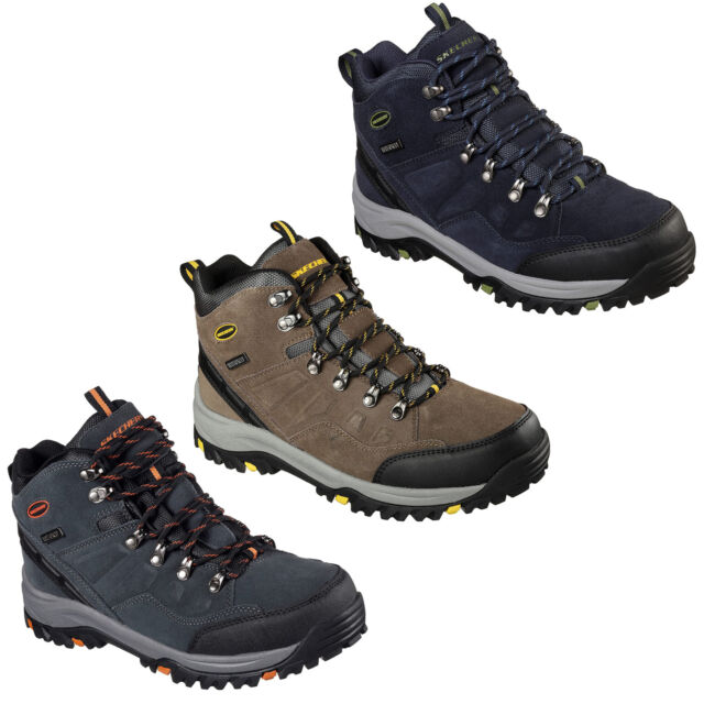 8f2ec1a47b0 Skechers Relaxed Fit Relment Pelmo Boots Waterproof Memory Foam Hiking Mens  Shoe