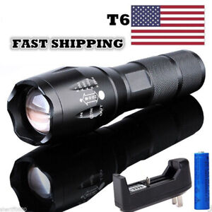 Police-Tactical-950000Lumen-Flashlight-Powerful-LED-Torch-Zoom-Lamp-Batt-Charger