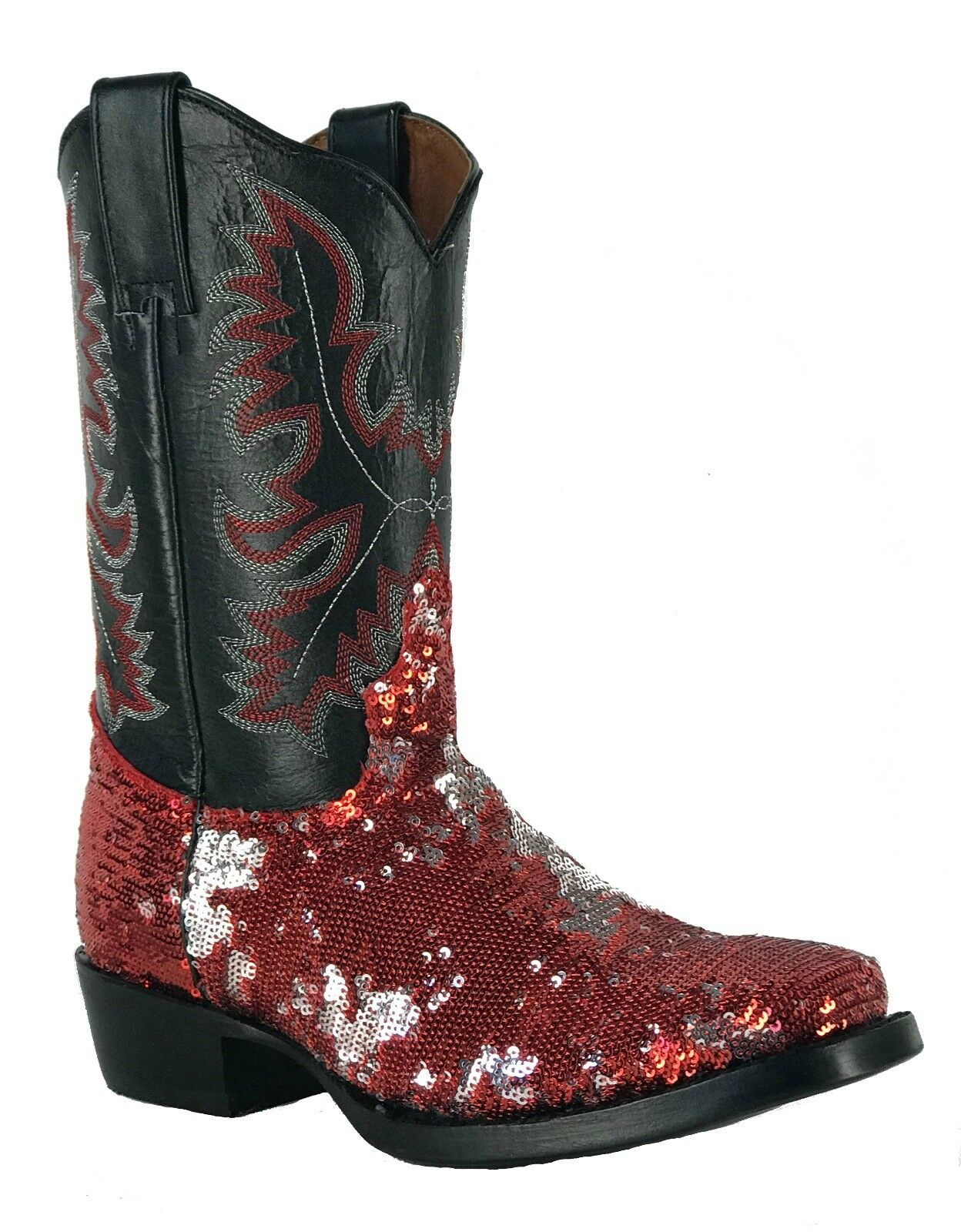 Women's Fantastical Shimmering Sequin Western Cowgirl Biker Boots Square Red
