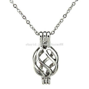 """VP131 Vintage Magnetic Hindu Elephant Pearl Cage Necklace Stainless Chain 18/"""""""