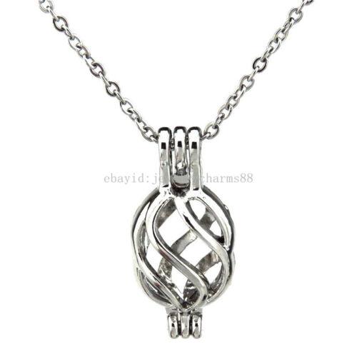 """K133 Alliage d/'Argent Perles Torsadées Cage Perle Médaillon Collier Inoxydable Chaîne 18/"""""""