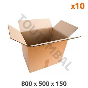 Caisse carton double cannelure 800 x 500 x 150 mm (par 10)
