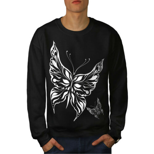 Papillon Sweat Noir Nouveau Homme Animal Nature luT3cFK1J