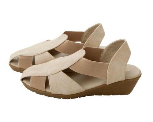 WOMENS BEIGE DOWN TO EARTH COMFORT WEDGE SUMMER SANDALS SHOES LADIES UK SIZE 3-8
