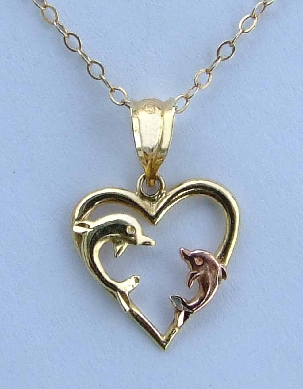 Ladies Dolphins Heart Pendant w  Mother Baby Dolphins -.14k Yellow & pink gold