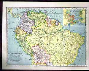 Map Of America Ebay.Details About Century Old 1904 Color Map South America