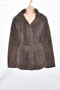 Nkd Women's Real Belted Coat Jacket Length Hips Leather Brown Outfit Size Uk12 tA0qBxw