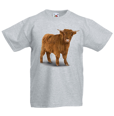 Highland Cattle Kid/'s T-Shirt Children Boys Girls Unisex Top Cow