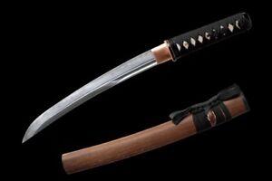 HANDMADE-CLAY-TEMPERED-JAPANESE-SWORD-T10-STEEL-BLADE-TANTO-ROSEWOOD-SAYA-SHARP