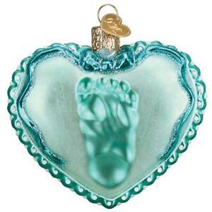 Old-World-Christmas-BABY-BOY-039-S-FOOTPRINT-30060-N-Glass-Ornament-w-OWC-Box