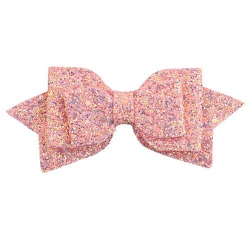 Fashion Girls Kids Glitter Hair Bows Hair Clip Bling Bow Hairgrip Decor Gift 6L