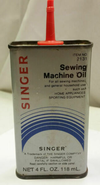 Vintage SINGER Sewing Machine Oil Tin 4 Oz Red Spout #2131 ...