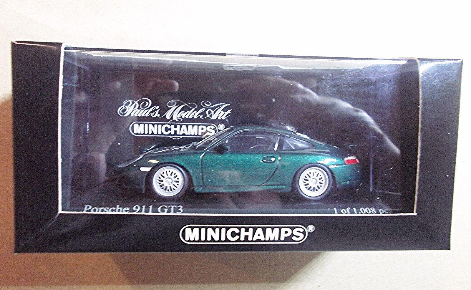 430068005  MINICHAMPS 1 43 43 43 SCALE  PORSCHE 911 GT 3  GREEN f0a146