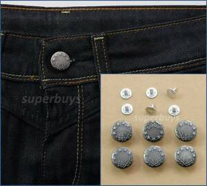 6pc-17mm-Antique-Silver-Jeans-Denim-Buttons-Hammer-Press-Repair-Replace-Tack